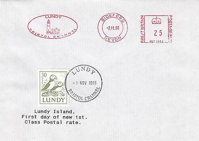 (87772) GB Cover Lundy 1st Day New 1st Class Rate 1 November 1993