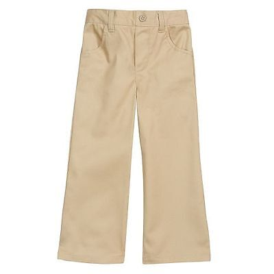 French Toast Toddler Girls Khaki & Navy Flat Front Pull On Pant