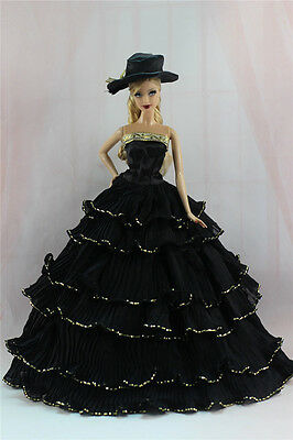 Gorgeous Princess Part Dress/Clothes Wedding Gown+hat For 11.5in.Doll N13