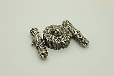 Antique Original Silver Ottoman For Arm Pray Container