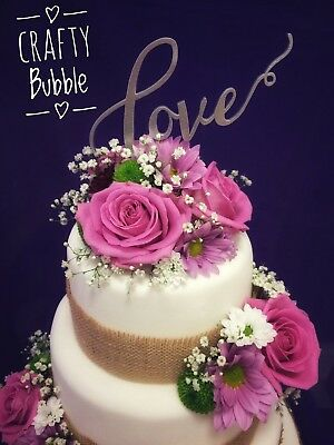 'LOVE' Hand made cake topper wedding anniversary engagement