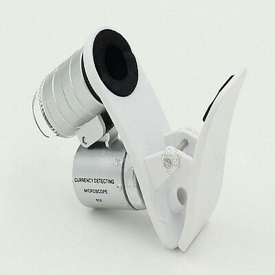 New 3LEDs Clip Mobile Phone Microscope Magnifier Micro Lens 60X Optical Zoom
