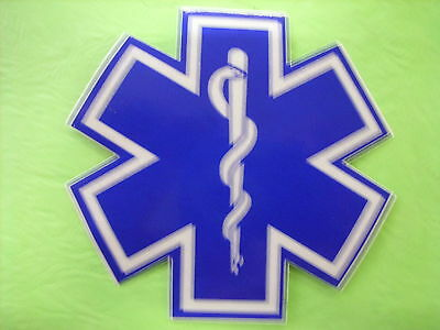 "Star Of Life 2"" White & Blue Reflective Decal Sticker"
