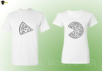 Couple T-Shirt Pizza Slice New Design His And Hers Love Matching Tee (White)