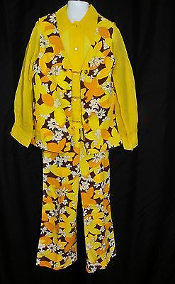 VTG 60's 70's Girls MOD Flower Power Pantsuit Size 7/8 Bell Bottoms 3 Piece Set