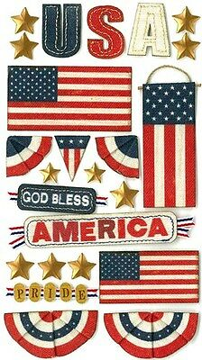Jolee's GOD BLESS AMERICA Stickers USA UNITED STATES FLAGS 4TH OF JULY MILITARY