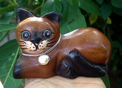 Hand Carved Wooden Cat Statue Figurine Crafted Wood Kitty Kitten handmade rest b