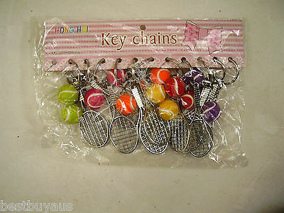 New 12 Tennis Racquet Key Rings Keyrings Racquet And Ball