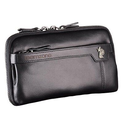 Teemzone Mens Genuine Leather Zipper Clutch Bag with Inner Pouches Black