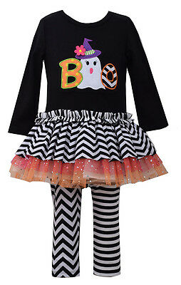 Bonnie Jean Baby Girls Halloween BOO Ghost Black outfit Set 12 18 24 Months