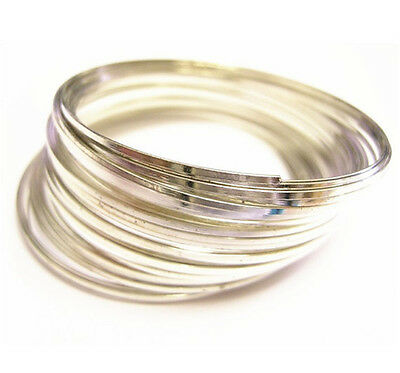 50 Circles Silver Finish Steel Memory Wire 1mm flat-9442