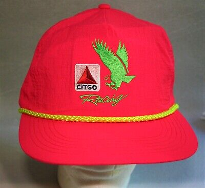 VTG 1980s Pink Go Citgo Racing Engine Oil & GAS F1 Captains Baseball Hat Cap NOS