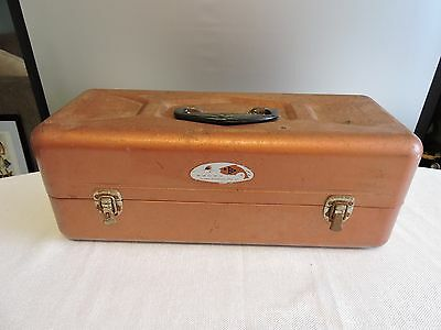 Vintage Sear Roebuck Brown Metal Fishing Tackle box with some Tackle