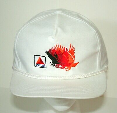 1980s Whte Go Citgo Racing Car Engine Oil & Gas F1 Captains Baseball Hat Cap NOS