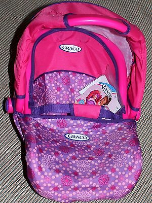 Graco 3-in-1 Doll Travel Car Seat with Canopy (Purple and Pink Dot Design) NWT