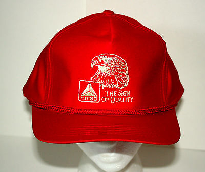 VTG 1980s Red Citgo Racing Engine Oil & GAS F1 Captains Baseball Hat Cap NOS