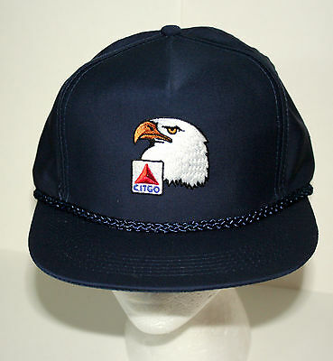 VTG 1980s Blue Citgo Racing Engine Oil & GAS F1 Captains Baseball Hat Cap NOS