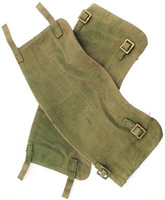 Vintage Belgian Military Gaiters Army Green Thick Heavy Duty Canvas Leather USED