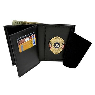 LEOSA Qualified Officer Badge Wallet 2 ID Recessed Leather Concealed Weapon CWP