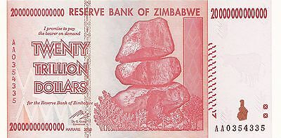 20 Trillion Zimbabwe Dollars, Uncirculated AA 2008 Pick 89, *10 50 100* MONEY.