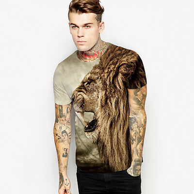 Cool Fashion Men's Summer Clothing 3D Print Lion Casual Short Sleeve T-Shirt