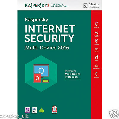 Kaspersky Internet Security 2016 Multi-Device pour 3 PC/Dispositifs Licence