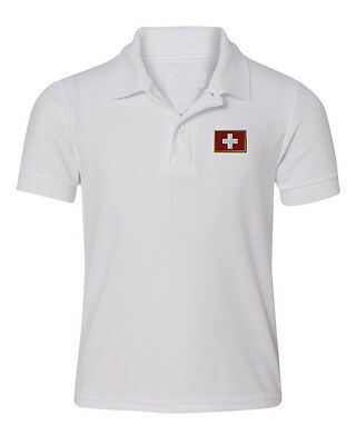 Swiss Flag Embroidered Kid Children Toddler Infant Polo Shirt 12mo-6T