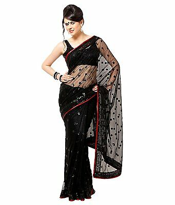 Black Bollywood Indian Pakistani Ethnic Designer Saree Sari With Blouse