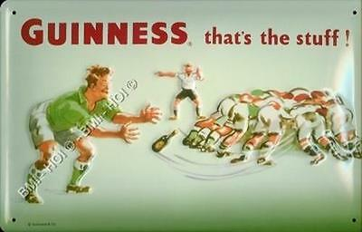 """Old Guinness Rugby Irish Advertisement on Metal Sign - 12"""" x 8"""" inches"""