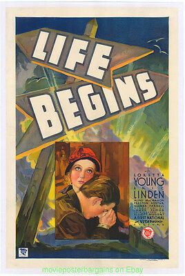 LIFE BEGINS MOVIE POSTER Original 27x41 Linenbacked 1932 LORETTA YOUNG Rare !!!!