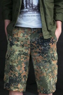 German army flecktarn camouflage shorts bermuda camo trousers combat cargo pants