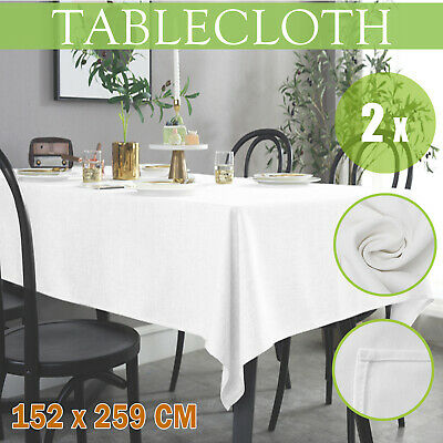 New 2PCS Wedding Table Cloth Rectangle White Table Cloths Party Event 152x259cm