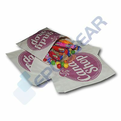 """50 Purple 5"""" x 5"""" Candy Shop Paper Bags Sweet Favour Gift Party Cart Wedding"""