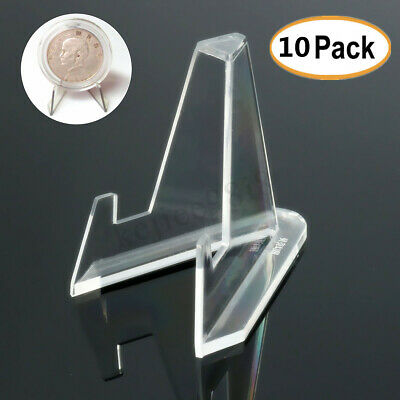 10PCS Cards Coins Medals Stand Exhibit Show Acrylic Clear Display Easels Holder