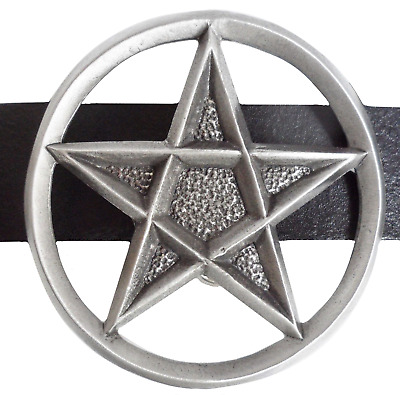 Pentagram Belt Buckle - Hand Made in Pewter