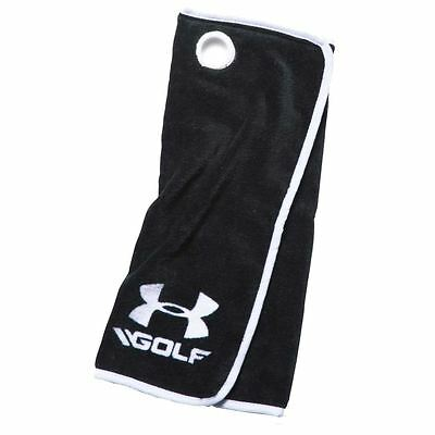 "2016 Under Armour Mens Tri-fold Cotton Golf Bag Towel 20""x20"" Black/White"