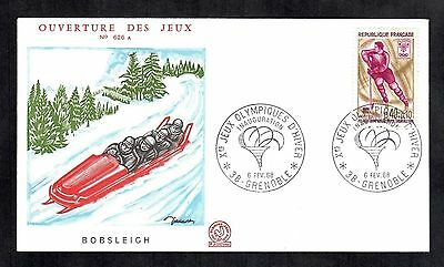 1968 Grenoble Winter Olympics Bobsleigh FDC French Cover Sport Sled Stamp