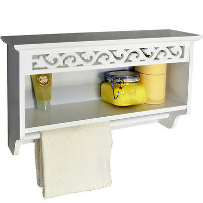 Scroll Wall Mounted Towel Rail with Shelf - White BA8122