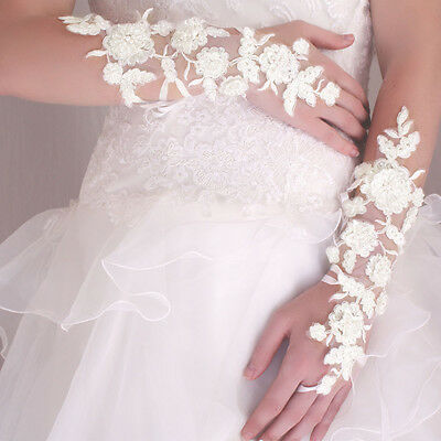 Gants Mitaines Mariage Longs A Lacets Broderies Perles Ivoire Mariage Opéra
