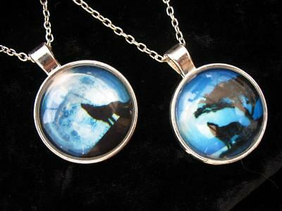 Howling Wolf Necklace Moon Pendant Viking Fantasy Pagan  Punk Black Gothic Wicca
