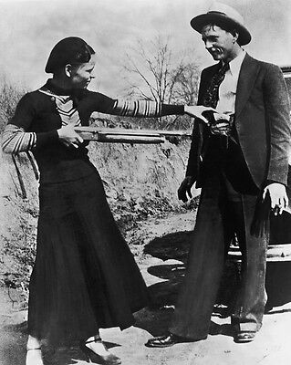 New 8x10 Photo: Bonnie Parker and Clyde Barrow, Depression-Era Gangster Outlaws