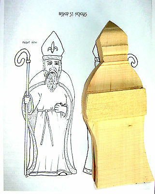 Bishop Wood Carving Blank, Basswood Cutout w/Pattern Carve Standing w/Staff Pope