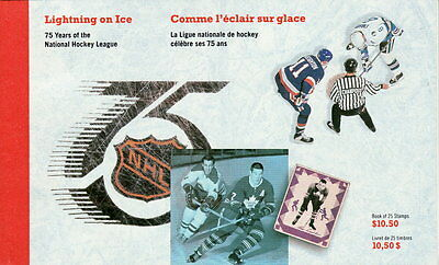 Canada BK148 42¢ Lightning on Ice 75th Anniversary of NHL Complete Booklet MNH