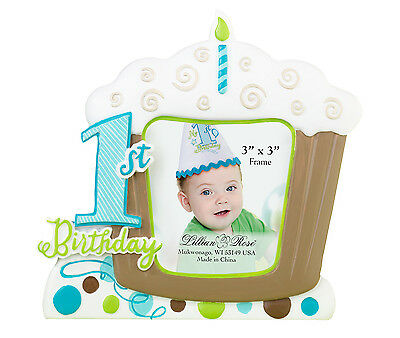 New In Box!  1St Birthday Cupcake Or Flower Photo Frame Blue Or Pink