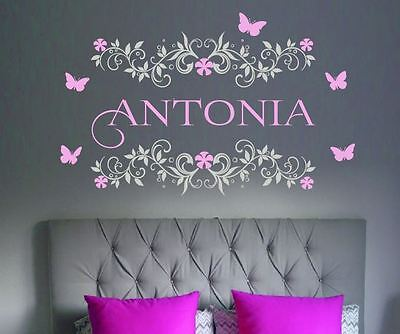 Floral Frame Custom Name Butterflies  - 2 colours Wall Stickers Vintage Girls