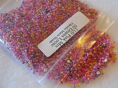 11/0 Pink Mix 50 Grams Loose Czech Glass Seed Beads