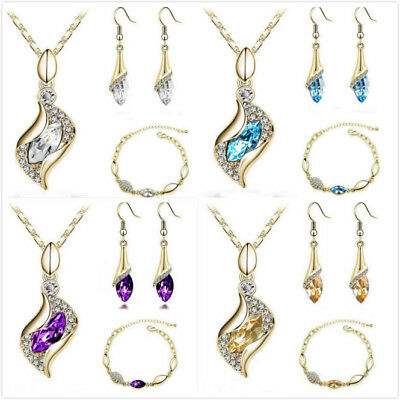 Turkey 18K Gold Plated Crystal CZ Necklace Earrings Bracelet Women Jewelry Set