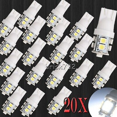 20x Pure White 10 SMD LED T10 194 921 W5W 1210 RV Landscaping Light Lamp Bulbs