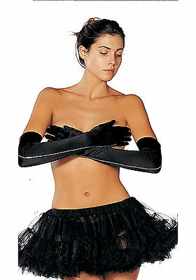 Shirley of Hollywood 203 Long Satin Gloves With Stones (Black;One Size)
