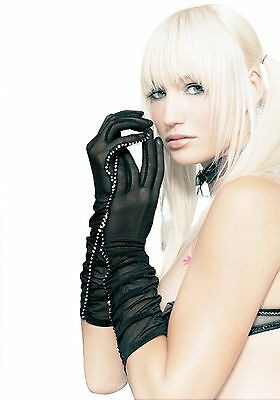 Leg Avenue G1800 Sheer Ruched Elbow Length Gloves (Black;One Size)